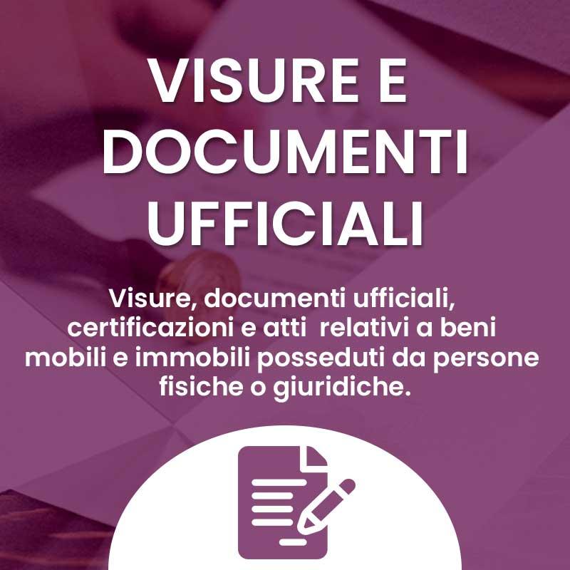 Servizi Visure e documenti ufficiali